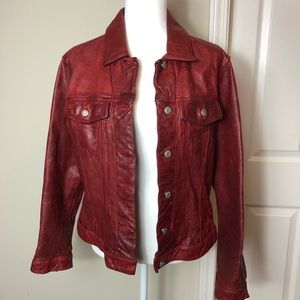 Vintage red GAP moto biker leather jacket